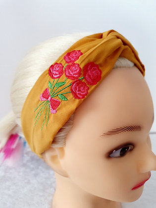 Embroidered Roses Elasticated Head Band