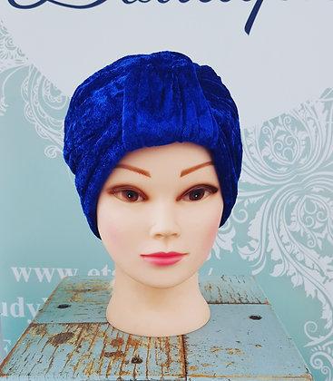 Electric Blue Crushed Velvet Turban