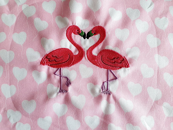 Embroidered Flamingos on Pink Hearts Face Mask