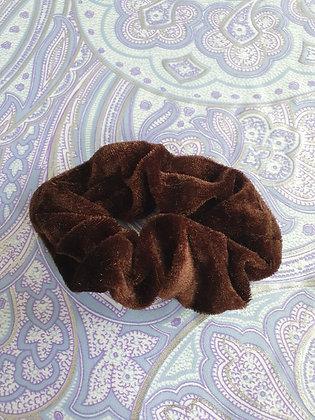 Hand Made Scrunchie - Dark Brown Velvet