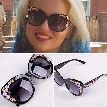 Black Vintage Floral Sunglasses
