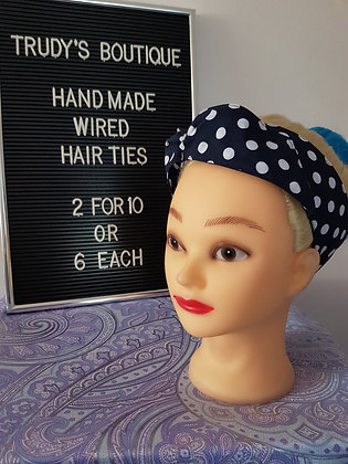 Polka on Navy - Wired Hair Tie
