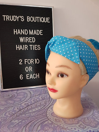 Polka on Sky Blue - Wired Hair Tie