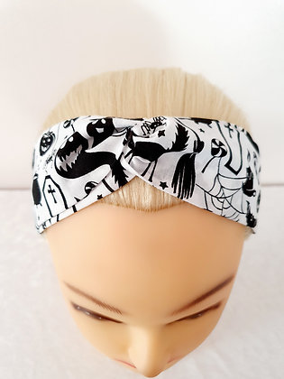 Nightmare on White Elasticated Head Band
