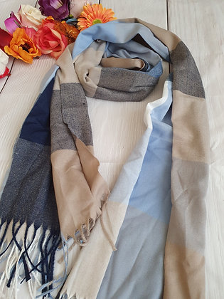 Blue and Beige Check Soft Scarf