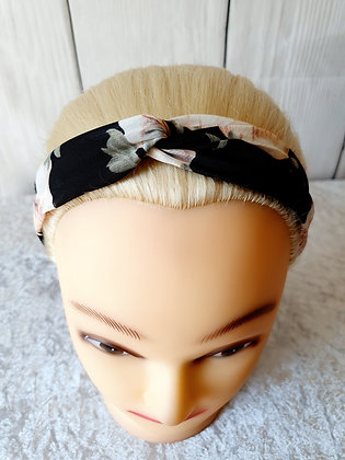 Delicate Black Floral Elasticated Head Band