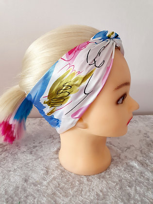 Blue Watercolour Floral Silk Head Scarf