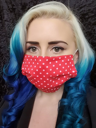 Red and White Polka Face Mask