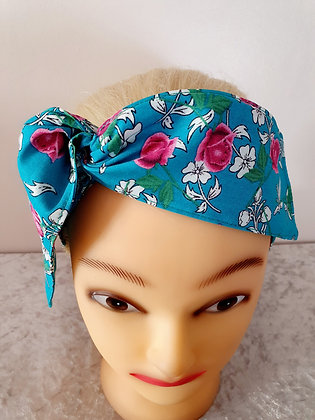 Pink Roses on Turquoise Wired Hair Tie