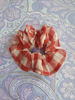 Hand Made Scrunchie - Red Gingham