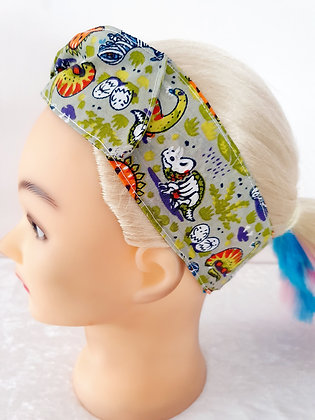 Spooky Dinosaurs on Grey Wired Hair Tie