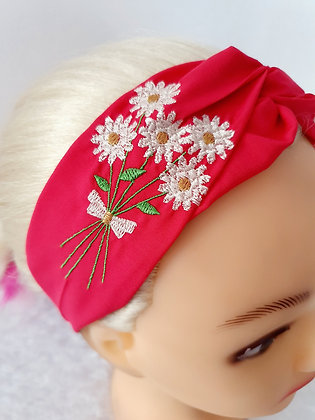 Embroidered Daisies Elasticated Head Band