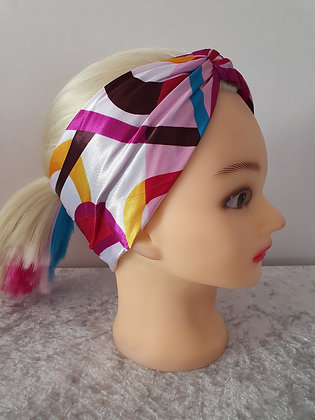 Rainbow Waves Silk Head Scarf