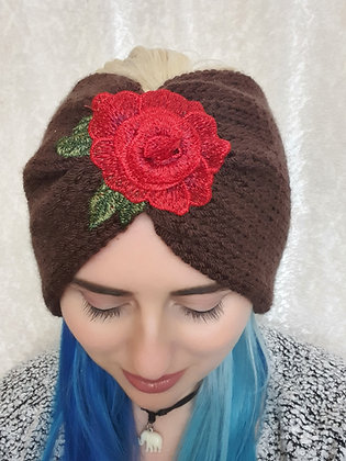 Roses Brown Double Width Knitted Ear Warmer