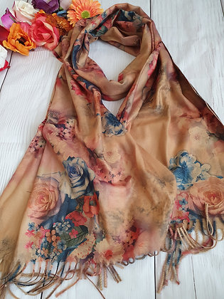 Floral Super Soft Scarf in Beige