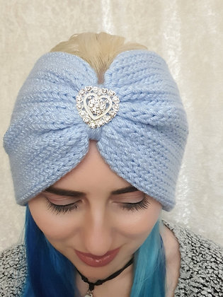 Baby Blue Double Width Knitted Head Band