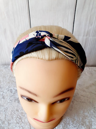 Pink Tropical on Navy Elasticated Head Band