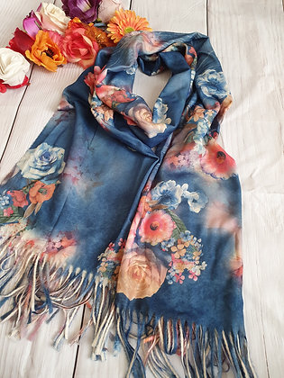 Floral Super Soft Scarf in Blue