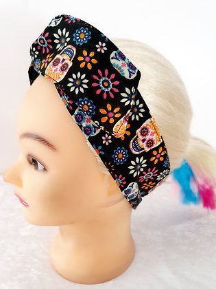 Candy Skulls on Black Wired Hair Tie