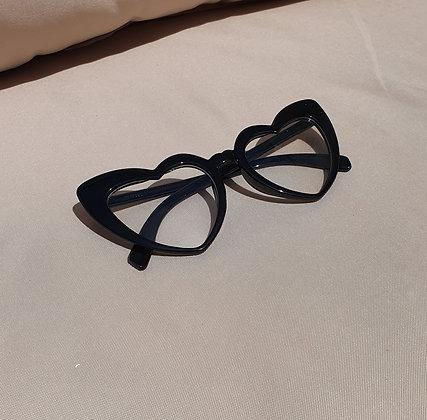 Black Clear Lens Heart Sunglasses