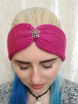 Magenta Pink Knitted Head Band