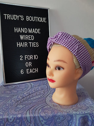 Purple Gingham Small - Wired Hair Tie