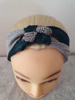 Green and Check Knot Elasticated Head Band