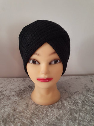 Hand Knitted Turban in Black