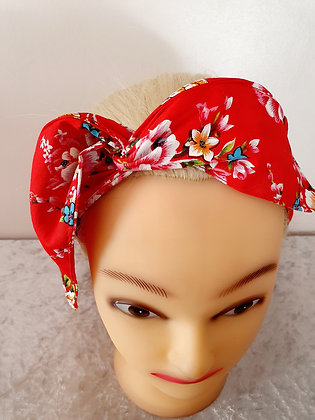 Bouquet on Red Wired Hair Tie