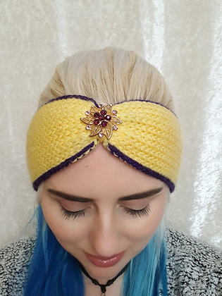 Lemon and Purple Knitted Ear Warmer