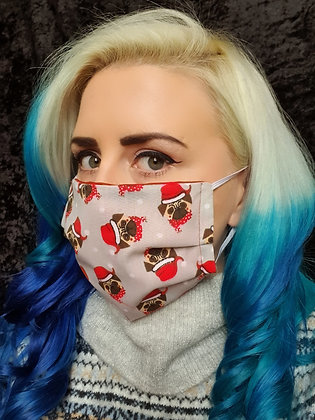 Christmas Pugs on Grey Face Mask