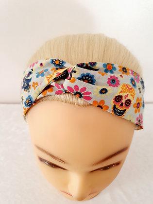 Candy Skulls on Cream Elasticated Head Band