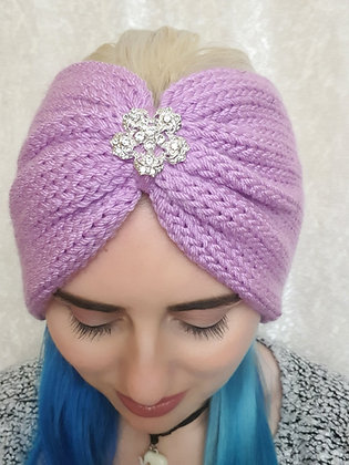 Lavender Double Width Knitted Head Band