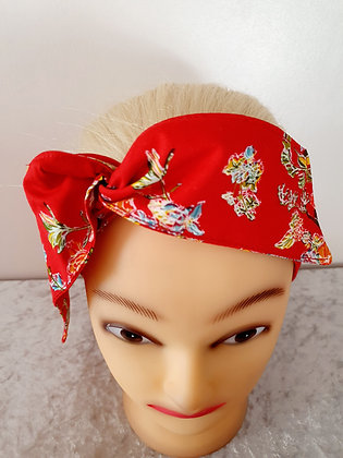Vibrant Floral on Red Wired Hair Tie