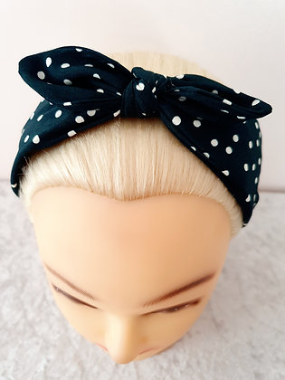 Green Polka Bow Large Head Band