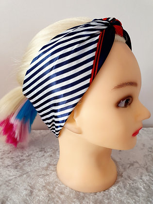 Navy Stripe Silk Head Scarf