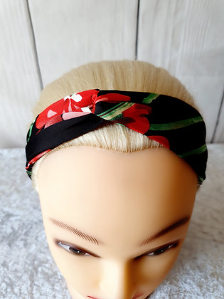 Silk Floral Black Elasticated Head Band