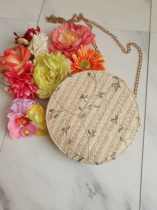 Embroidered Round Bag Cream