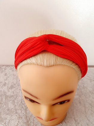 Plain Ribbed in Red Elasticated Head Band