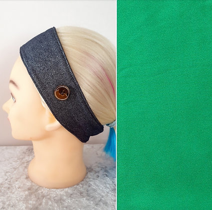 Buttoned Head Band in Emerald