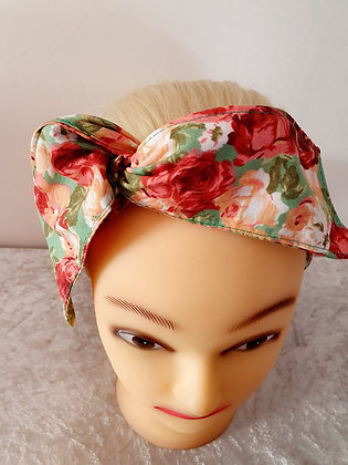 Roses on Vintage Green Wired Hair Tie