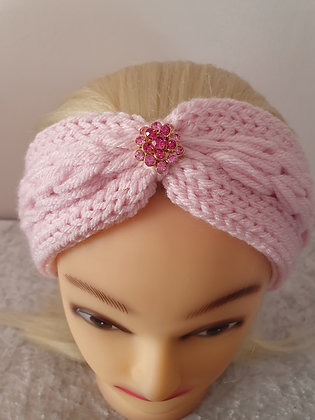 Baby Pink Pleat Knitted Head Band