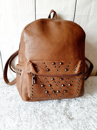 Leather Look Embellished Rucksack in Brown