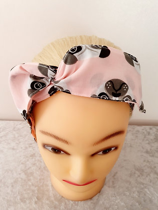 Pug Faces Pink Wired Hair Tie