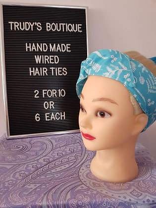 Spring Leaves in Blue - Wired Hair Tie
