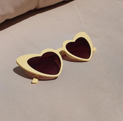 Yellow Dark Lens Heart Sunglasses