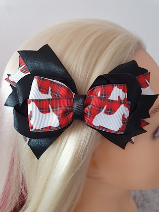 Black Scottie Large Tartan Hair Bow