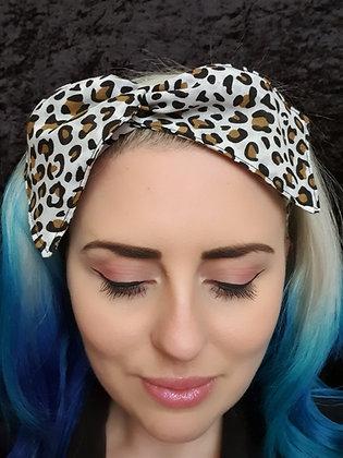 Leopard Print on White Wired Hair Tie