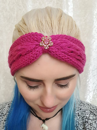 Magenta Pink Plaited Knitted Ear Warmer