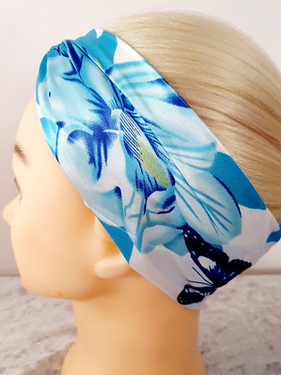 Blue Floral Silk Head Scarf